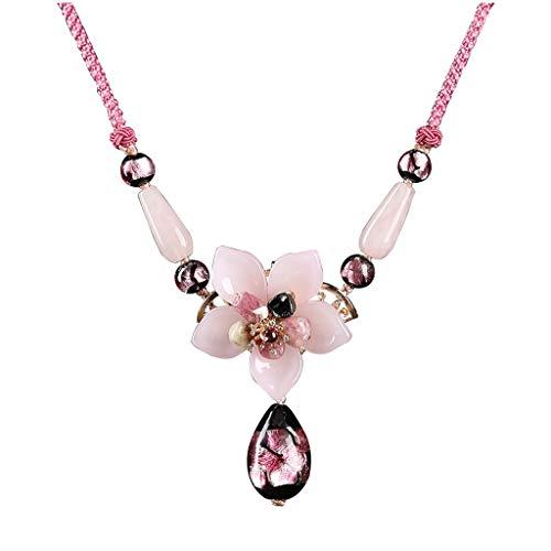 NYKK Joyería de Moda De Mujeres Retro pétalos de Rosa Genuino esmaltadas Colgante de los Granos Collar Ajustable Hecha a Mano Colgante Colgante es de 2,5 Pulgadas de Largo Collar para Mujer