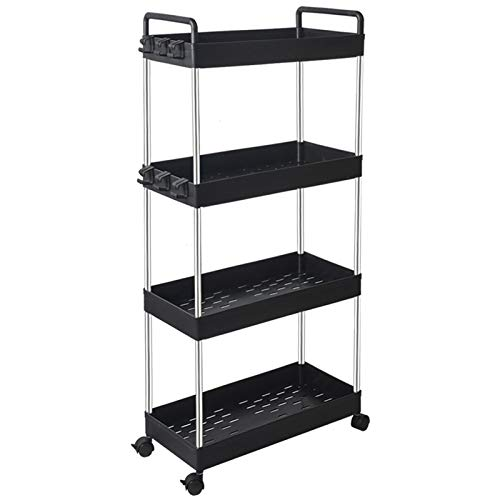 mDesign Vertical Dresser Storage Tower - Sturdy Steel Frame, Wood Top, Easy Pull Fabric Bins - Organizer Unit for Bedroom, Hallway, Entryway, Closets - Textured Print - 4 Drawers - Black/Graphite Gray