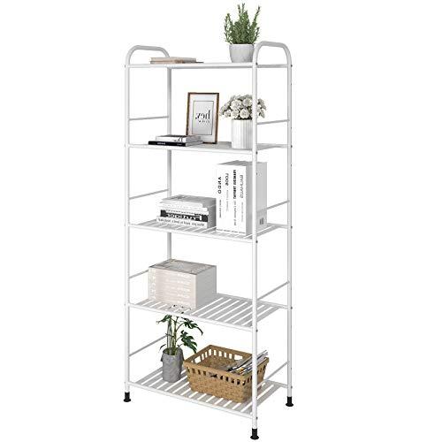 GHQME Estantería de pie de metal con 5 estantes, para libros, cocina, para cargas pesadas, para esquina, para flores, color blanco, 5 estantes.