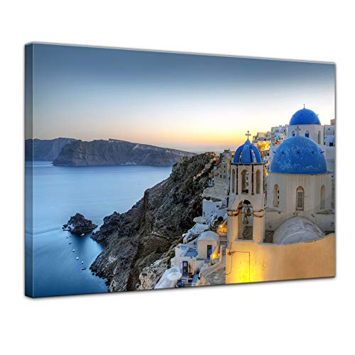Bilderdepot24 Cuadros en Lienzo Santorini - Grecia - 40 x 30 cm - Listo tensa, Directamente Desde el Fabricante