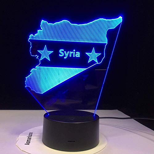 AI LI WEI nachtlampje, optische illusie van de lamp licht, 7 kleurverandering van de dag Macedonië kaart licht creatieve bureaulamp Valentijnsdag