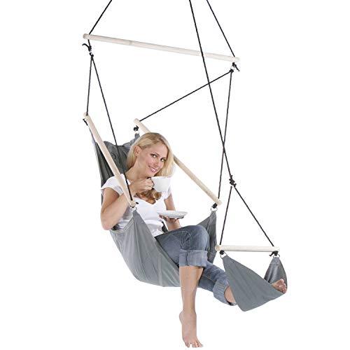 Feluna Hanging Chair with Footrest - Hanging Chair & Hammock Indoor and Outdoor Recliner Chair (Grey)