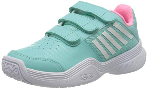 K-Swiss Performance Court Express Strap Omni Tennisschuhe, Blau (Aruba Blue/Soft Neon Pink/White 437), 29 EU