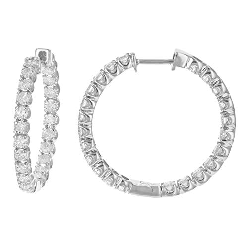 4 cttw Certified SI2-I1 Clarity Diamond Hoop Earrings 14K White Gold I-J Color