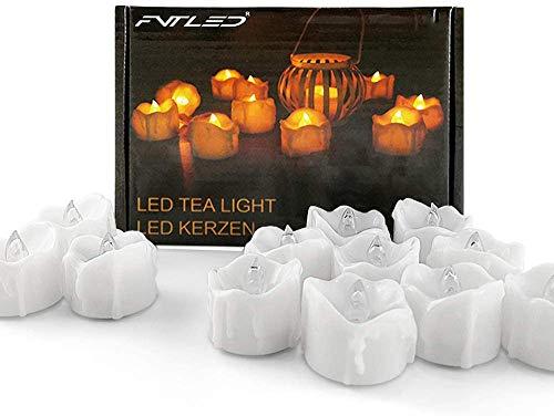 SUBOSI 24 Bougies Chauffe-plat LED Avec Minuterie Bougies Sans Flamme Scintillantes Bougies Chauffe-plat LED à Piles pour Arbre de Noël, Mariage