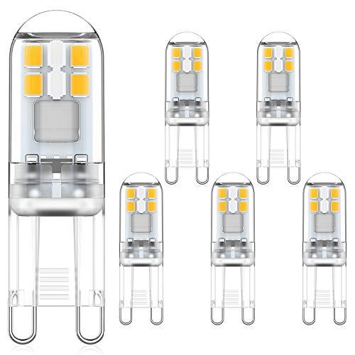MLlichten 2W Lampadine LED G9 Bianco Naturale 4000K, Equivalente Alogeno 10W 20W, Non Dimmerabile Nessun Sfarfallio G9 LED Lampada, AC 220-240V G9 LED Lampadina, Confezione da 5