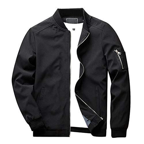 KEFITEVD Fliegerjacke Herren Sommer Übergangsjacke Männer Blouson Jacke mit Reißverschluss Taschen Windbreaker College Jacke Outdoor Jacke Schwarz XL (Etikett: 2XL)