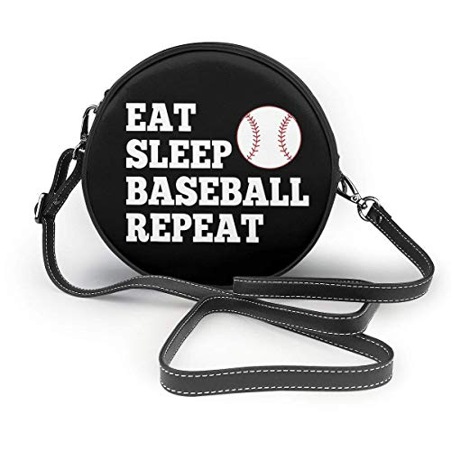 Eat Sleep Baseball Repeat. Classic Round Shoulder Bag Crossbody Leather Handbag