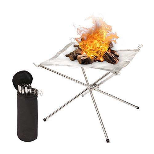 GALMAXS7 Camping Fire Pit Portable Fire Pit Stainless Steel Mesh Collapsible fire Pit Outdoor Fireplace Campfire Pit Foldable Fire Pit for Camping Backyard Beach and Wood Burning -with Carry Bag