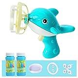 guangzhou Electric Automatic Bubble Machine with Mini Fan Dolphin Bubble Blower Maker Toys Bubble Choke Toy Blue