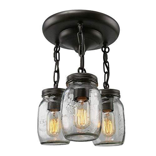 CHNOI Lámpara colgante con pantalla de cristal transparente Negro mate Iluminación colgante de 3 luces Ajustable, estilo retro industrial, lámpara colgante for el hogar, isla de cocina, comedor, vestí