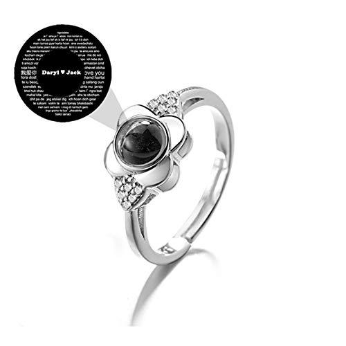 Anillo de proyección Anillo de foto personalizado 100 tipos de anillo de te amo Anillo de promesa Anillo familiar(Plata texto Ajustable)