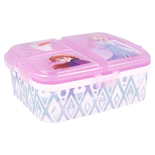 Stor Frozen 2 | Sandwichera con 4 Compartimentos - Tupper Infantil - Fiambrera Decorada para Niños