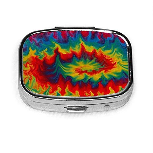 Tie Dye Regenbogen Whirlpool Square Pill Case Tragbare Box Tasche Geldbörse Tablet Medizinhalter Reiseorganisator Fälle