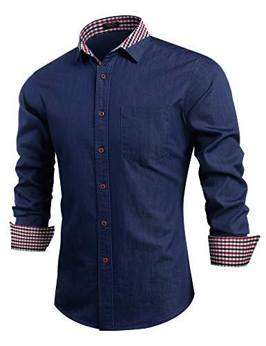 COOFANDY Men's Casual Slim Fit Button Down Closure Long Sleeve Dress Shirt, 02-dark Blue, Medium
