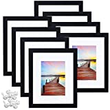 Sindcom 8x10 Picture Frame, Black Wood Textured Photo Frames Collage, Display Photos 5x7 with Mat or 8x10 Without Mat, Mounting Hardware Included, for Wall or Tabletop Display, Set of 8