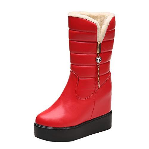 Geili Damen Thermoreitstiefel Winterstiefel Schneestiefel Snow Schuhe Winterboots Frauen Warm Fell Plüsch Gefüttert Wasserdicht Wasserabweisend Halbschaft PU Leder Stiefel Schlüpfen Boots