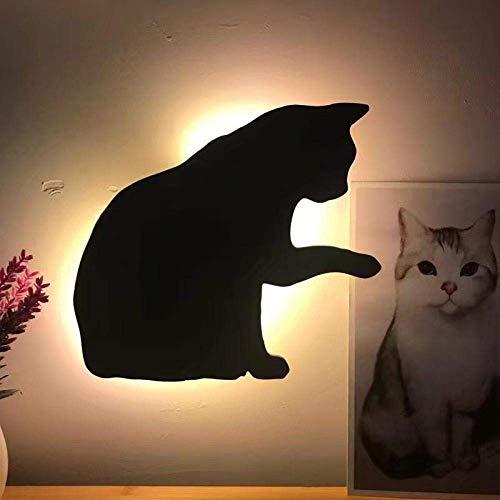 SYyshyin Control de sonido LED Luz nocturna Lámpara de proyección para gatos Luces para niños recargables USB, luz nocturna con sensor activado por voz, que se utiliza en pasillos, escaleras, dormitor