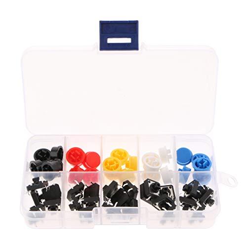 joyMerit Interruptor Momentáneo Y Tapa con Botón Pulsador Táctil de Tipo Convexo de 12 X 12 X 7,3 Mm (paquete de 25 Piezas) AE1027