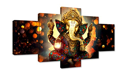 Canvas Painting Wall Art Home Decor for Living Room HD Prints 5 Pieces Elephant Trunk God Modular Poster Ganesha Pictures Wooden Office Bathroom Framed Ready to Hang