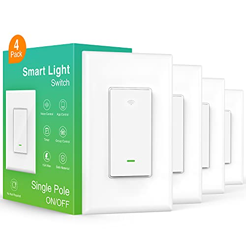 Smart Light Switch, in-Wall WiFi Smart Switch That Work with Alexa and Google Home, No Hub Required, Neutral Wire Needed, Single-Pole 15A, Etl and Fcc Listed, White,4 Pack