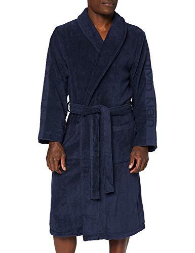 Calvin Klein Herren Robe Bademantel, Blau (Blue Shadow 8sb), Large (Herstellergröße: L-XL)