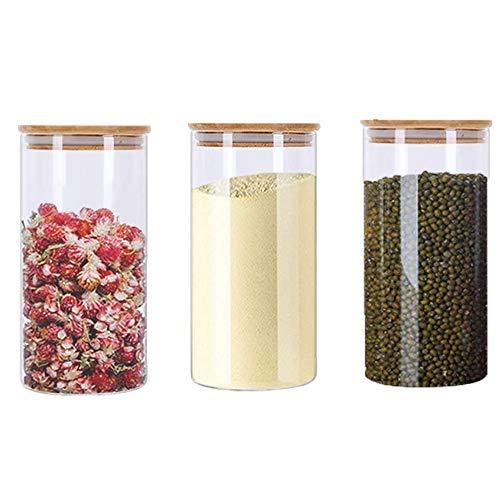 Frascos de Vidrio con Tapa de Bambú,3 Piezas Tarros de Cristal con Tapa,Tarro de Vidrio de Almacenamiento,Tarro de Cristal Hermético,Tarro de Granos Transparente,para Café,Azúcar,Especias(310M