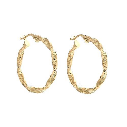 Orecchini Cerchi In Oro Giallo 18k 750/1000 Modello Torchon Da Donna