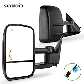 SCITOO Towing Mirrors Pair Rear View Mirrors fit for 2003-2007 for Chevy for GMC for Silverado for Sierra  07 Classic Models  with Power Heated Turn Signal Manual Telescoping Folding Feature