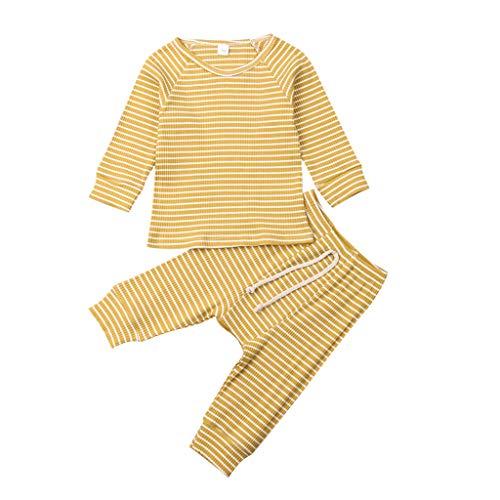 Alwayswin Kleinkind Baby Jungen Mädchen Langarm Gestreifte Tops + Hosen Schlafanzüge Nachtwäsche Outfits Bequem Mode Zweiteiliger Pyjama Herbst und Winter Lange Hülsen Sleepwear