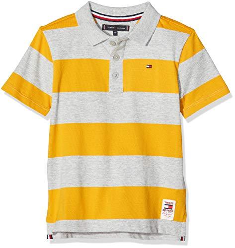 Tommy Hilfiger Jungen Wide Stripe Polo S/s Poloshirt, Grau (Grey 0Cs), (Herstellergröße: 164)