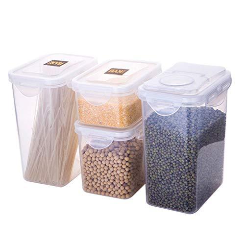 4versiegelte Speicher Müsli Aufbewahrungsbox 1,8l transparent Kunststoffe Aufbewahrungsbox Hundefutter Pet Cookies Mutter Aufbewahrungsbox Küche Kunststoff Container