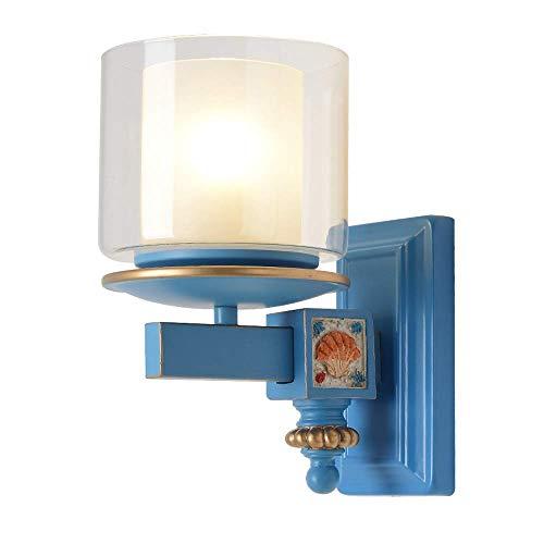 Wandlamp van metaal mediterrane wandlamp dubbellaags wandlamp met glazen scherm decoratie voor binnen hoogglans, E27 hal, slaapkamer moderne wandlamp