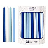 Deluxe Tapered Hanukkah Menorah Candles for All 8 Nights of Chanukah (Pastel Blue/White)