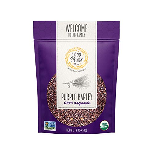1000 Springs Mill - Organic Purple Barley   Used for Cereals, Salads, Whole Wheat Barley Bread, Fresh Barley Flour, Sprouting Seeds, and more   Bulk Dried Grain   Resealable Bag   16oz (Pack of 1)