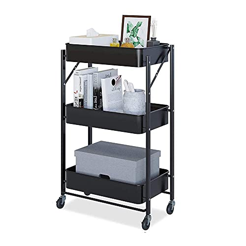 GIOAMH Kitchen Multifunctional Shelf Cart,3 Tier Foldable Storage Cart With Wheels, Metal Roller Kitchen Trolley Cart For Living Room,Bedroom,Classroom - Black