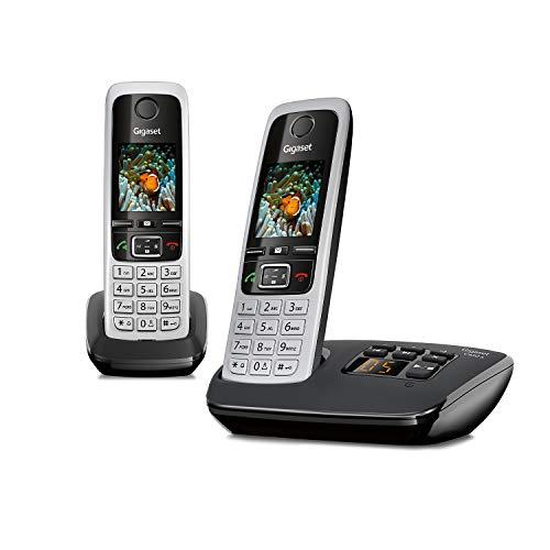 Gigaset C430A Duo 2 schnurlose Telefone mit Anrufbeantworter (DECT Telefon mit Freisprechfunktion, klassische Mobilteile mit TFT-Farbdisplay) schwarz-silber
