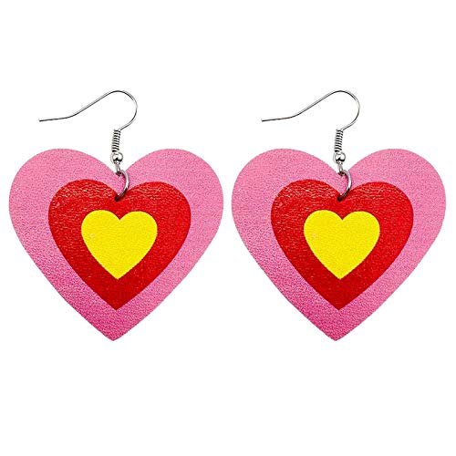 Women Girls Valentine's Day Party Faux Leather Drop Dangle Earrings Accessory,Heart Sequins Special Cute Printing Hanging Earrings for Women Dangle