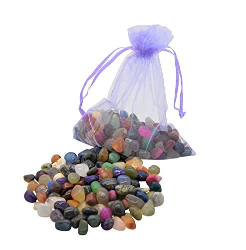 AMAHOFF 100 Edelsteine (trommelpoliert) - Natursteine 10-15mm - Optimal für Kalaha, Hus oder Bao - Organza-Säckchen & Spielanleitung
