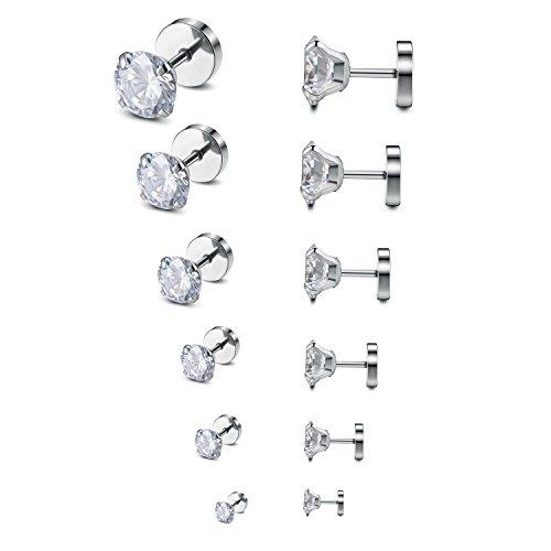 Monily 18G Stud Earrings 316L Stainless Steel Round CZ Stud Ear Piercing Plugs Tunnel Punk for Men Women