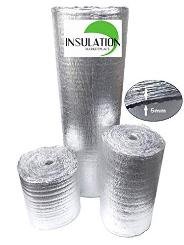 SmartSHIELD -5mm 24''X50ft Reflective Insulation Roll, Foam Core Radiant Barrier, Heat-Cold Shield, Thermal Foil Insulation - Pure Aluminum