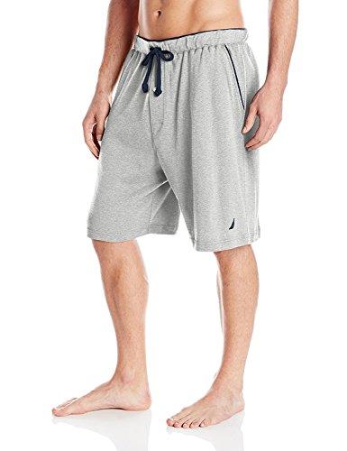 Nautica Men's Big & Tall Soft Knit Elastic Waistband Sleep Lounge Short, Grey Heather, 2X Big