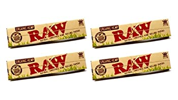 Raw King Size Slim Organic Hemp Rolling Papers 32 Count  Pack of 4