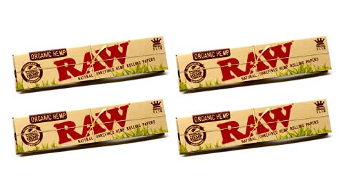Raw King Size Slim Organic Hemp Rolling Papers, 32 Count (Pack of 4)