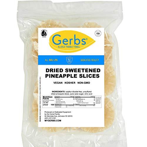 GERBS Dried Sweetened Pineapple Rings 64 ounce Bag Unsulfured Preservative Top 14 Food Allergy Free