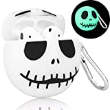 Joyleop(Luminous Skull) Compatible with Airpods 1/2 Case Cover, 3D Cute Cartoon Funny Fun Cool Kawaii Fashion Chic, Silicone Airpod Character Design Skin Keychain,Girls Boys Teens, Case for Air pods