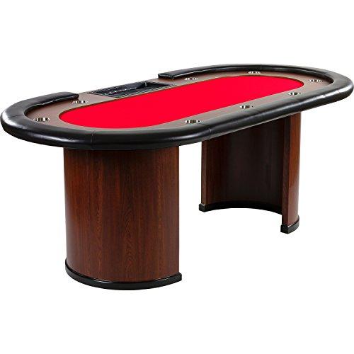 """Maxstore Pokertisch """"Royal Flush"""", 213 x 106 x75 cm, Farbwahl, Gewicht 58kg, 9 Getränkehalter, gepolsterte Armauflage, rot"""