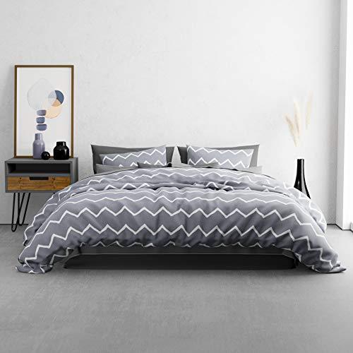 KØZY LIVING Juego de cama Traumwelt – 1 funda nórdica de 200 x 200 cm con 2 fundas de almohada de 80 x 80 cm – alta calidad transpirable para todo el año algodón con cremallera – rombos gris