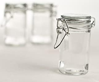 Set of 12 Small Glass Jars with Glass Lids and Metal Bails