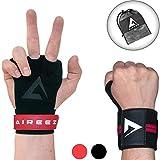 Aireez® 2 in 1 Crossfit Handschuhe LR Pull up Grips Für Handschutz & Handgelenk Bandagen Set, Hand...